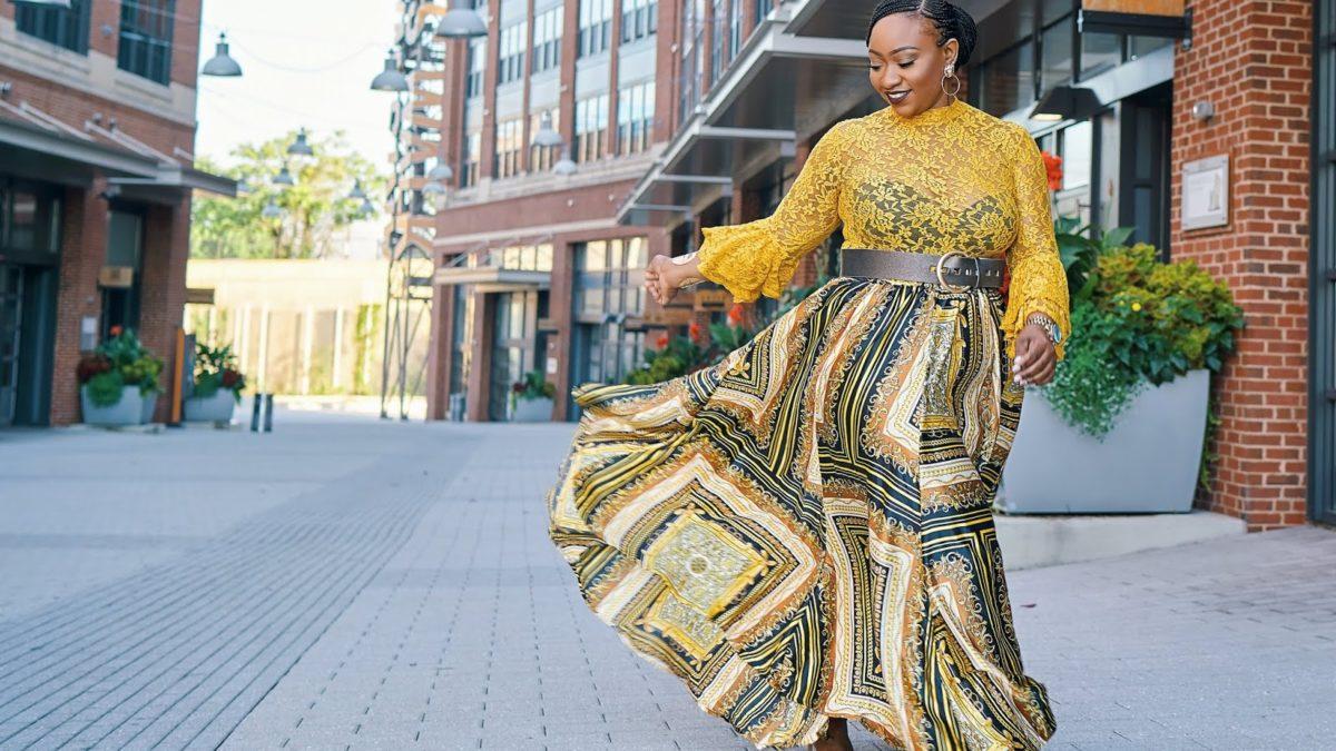Mujer con curvas falda vaporosa