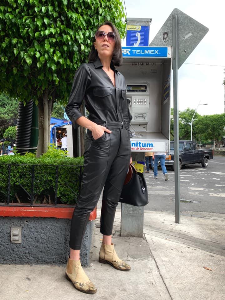 Jumpsuit de piel negro