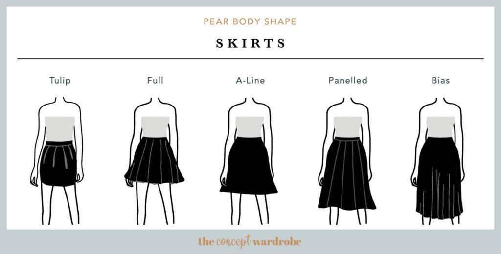 Cortes de faldas para cuerpo pera